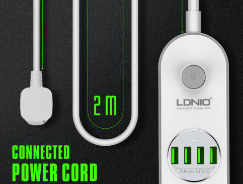 Ldnio Πολύπριζο Ασφαλείας 4 Θέσεων με USB και μήκος καλωδίου 2m SE4432 - Skroutz.gr