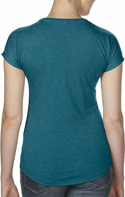Womens Tri-Blend V-Neck Tee Anvil 6750VL - Heather Galapagos Blue