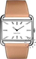 Nautica Brown Leather Strap White Dial A08582L