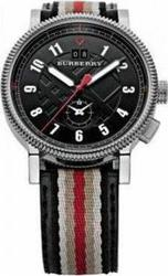 Burberry Mens Black Dual Time With Striped Leather Strap BU7680