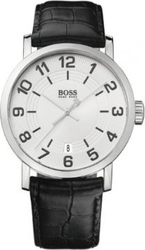 Hugo Boss Silver Dial Black Leather Strap 1512363
