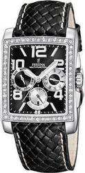 Festina Classic Black Leather Strap Crystal Ladies F16362/3