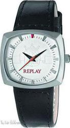 Replay Coupe Small Brown Leather and Fabric Strap RW5401ΑH