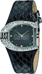 Just Cavalli Ladies Logo Black Leather Strap R7251160625