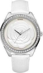 Guess Crystal Rose Large White Leather Strap W85075L1