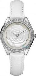 Guess Crystal Rose Small White Leather Strap W75043L1