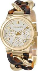 Michael Kors Chronograph Gold Steel and Tortoise Chain MK4222