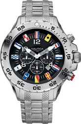 Nautica Flags Dial Steel Chrono Watch 29512