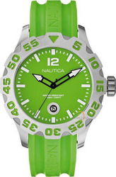Nautica Mens Watch Green Rubber A14605G