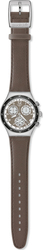 Swatch Irony Chronograph Deeply Focused Grey Leather Strap YCS540
