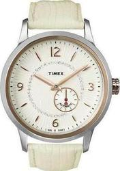 Timex Crystal T Series Automatic Beige Leather Strap T2N352