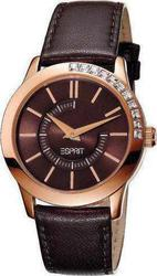 Esprit Ladies Watch Quarter Rose Gold Brown Leather Strap ES102952003