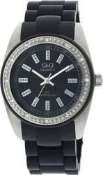 Q&Q Crystal Ladies Black Ceramic Bracelet - GQ13-202