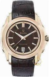 Bulova Men's Precisionist Longwood Rose-Tone Brown Leather Watch 97B110