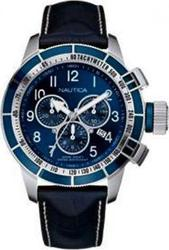 Nautica BFC Chronograph 200M Blue Leather Strap - A37530G
