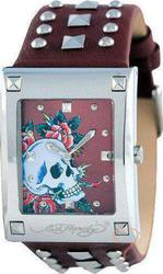 Ed Hardy Lucy Skull Rose Brown Leather Strap LU-SR