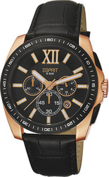 Esprit Mens Watch Meridian Rose Gold Chronograph Leather Strap ES103591003