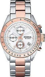Fossil Chrono Silver Dial Two Tone Stainless Steel Bracele - CH2686
