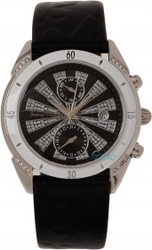Mugler Ladies Crystal Black Leather Strap TM4709807