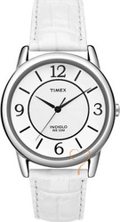 Timex Analogue White Leather Strap T2N685