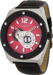 Stuhrling Esprit Red Dial Black Leather Strap 281.332D540