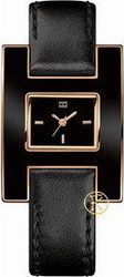Tommy Hilfiger Women's Fashion Black Enamel and Rose Gold Watch 1781154