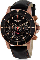 Brosway Chrono Rose Gold Case Black Dial and Leather Strap MD16