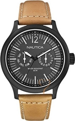 Nautica Nautica Man Black Dial- Beige Leather Strap A13602G