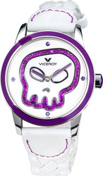 Viceroy Skull White Leather Strap 42116-90