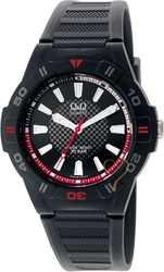 Q&Q Collection Red Dial Black Rubber Strap GW36J007Y