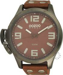 Oozoo Steel XXL Brown Leather Strap OS351