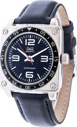 Q&Q Unisex Black Leather Strap - QQ1703BLE
