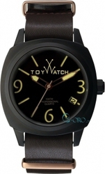 Toy Watch Icon Black Case Black Leather Strap IC03BR