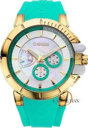 Breeze 3D Shadow Chrono Green Rubber Strap - 110061.7