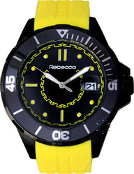 Rebecca Griffe Black Ceramic Yellow Rubber Strap - AGRONY81