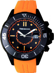 Rebecca Griffe Black Ceramic Orange Rubber Strap - AGRONO81