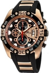 Lotus Vulcano Rose Gold Black Rubber Strap Chronograph L9996-3