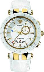 Versace VRace Gold White Leather Strap