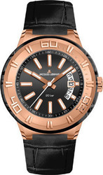 Jacques Lemans Rose Gold Miami Sport Black Leather Strap 1-1770G