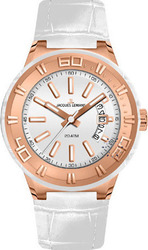 Jacques Lemans Rose Gold Miami Sport White Leather Strap 1-1770H