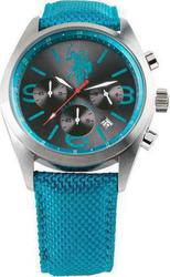 U.S. Polo Assn. Chrono Blue Dial And Leather Strap USP4193BL