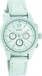 Oozoo Timepieces White Silver Leather Strap JR181