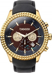 Breeze Gold Black Leather Strap Chronograph 110121.2
