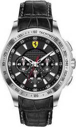 Ferrari Mens Chrono Black Leather Strap 830039