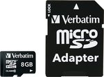 Verbatim Premium microSDHC 8GB U1 with Adapter