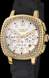 Vogue 5 Chronograph Crystal Gold Black Rubber Strap 145151.4