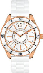CAT Riviera Rose Gold White Rubber Strap L530120229