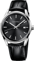 Calvin Klein Men Black Leather Strap K4M211C3