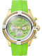 Breeze Flirtini Gold Chrono Light Green Rubber Strap 110211.7