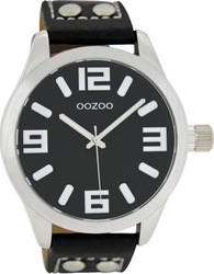 Oozoo 45mm Unisex Black Leather Strap C1054